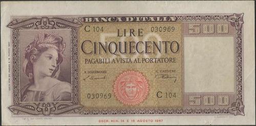 italia 500 liras 20 mar 1947 p80a