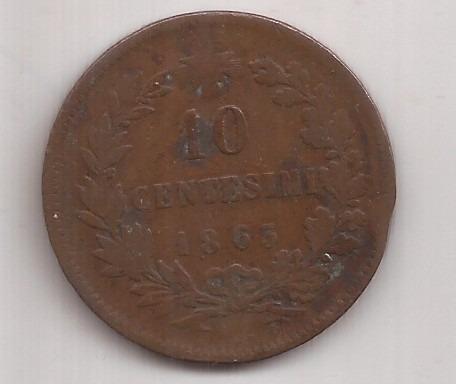 italia antigua moneda de cobre 10 centesimi año 1863