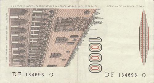 italia, antiguo billete coleccionable 1000 liras 1.982