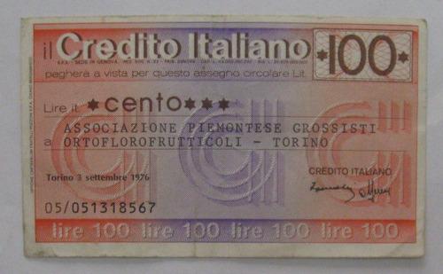 itália - bela cédula particular 100 liras 1976 - torino