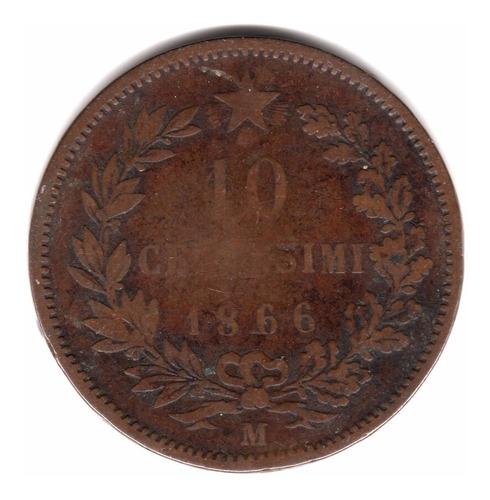 italia reino moneda 10 centesimi 1866 m vittorio e ii km#11