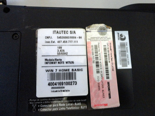 itautec infoway note w7535 core i5 500gb hd 4gb ram 2700 mhz