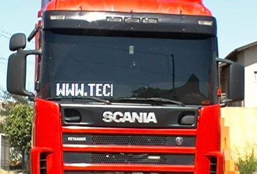 itinerário eletrônico caminhão, painel de led data/hora/temp