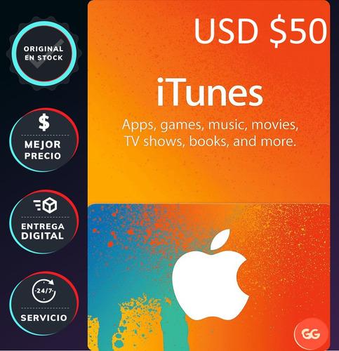 itunes tarjeta gift card 50 dólares americana