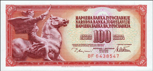 iugoslávia - 100 dinares de  1.981 - fe     frete 12,00.