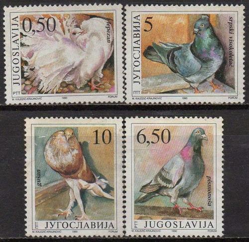 iugoslávia - aves - pombas - 1990 - s/completa