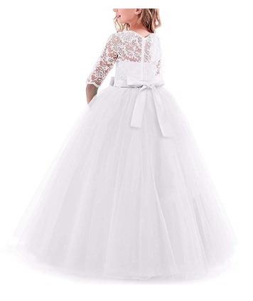 Iweme Vestido Para Niñas Dama De Honor Boda Elegante Navy Bl