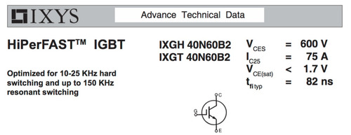 ixgh40n60b2 igbt hiperfast 600v x 75a | to247ad original