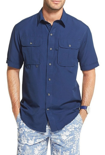 izod saltwater surfcaster camisa pesca manga corta s