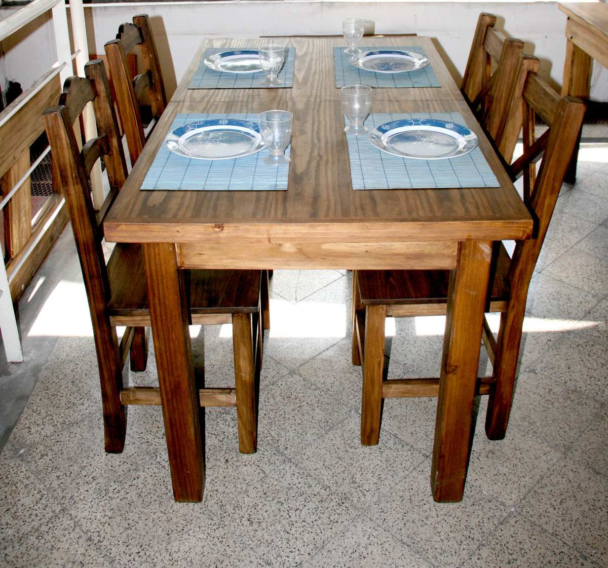 Beautiful J Comedor Mesa Extensible 1,40/1,90 C/4 Sillas Rústica