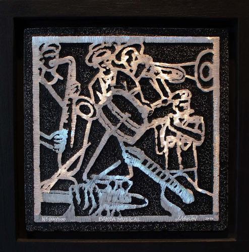 j. maciel escultor - quadro gravura banda musical