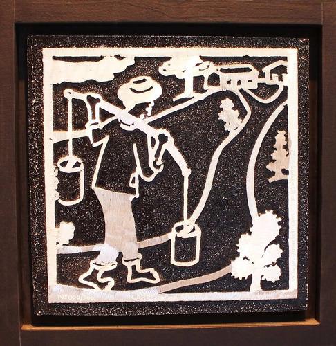 j. maciel escultor - quadro gravura carregador de água