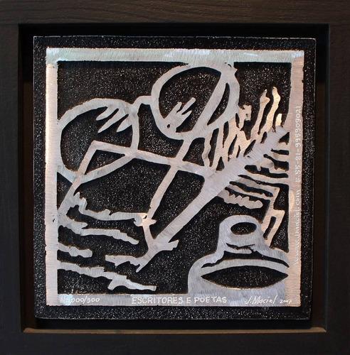 j. maciel escultor - quadro gravura escritores e poetas