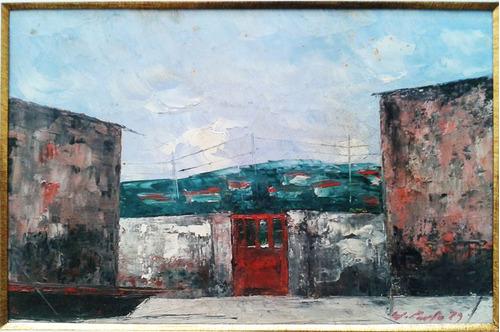 j. paulo - pintura original óleo s/ eucatex assin. 54x45cm