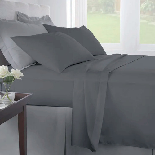 j. sábanas doble 100% algodón 200 hilos gris oscuro