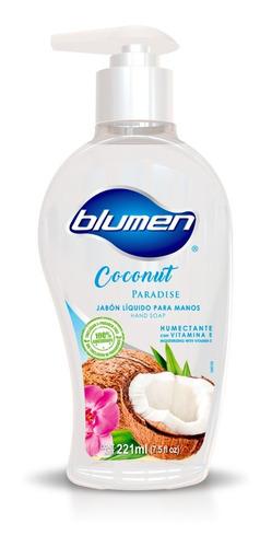 jabón antibacterial para manos blumen aroma coconut 221 ml