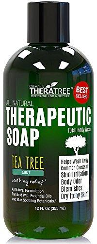 jabón antifúngico con aceite de árbol de té y neem 12oz.
