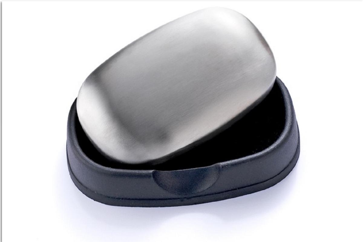 Jab/ón de acero inoxidable con jabonera Neutraliza olores desagradables en las manos