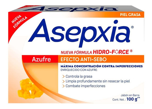 jabón en barra asepxia azufre 100g genomma lab