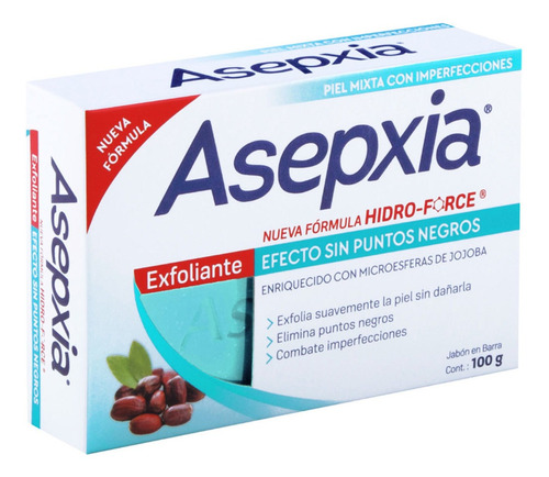 jabón en barra asepxia exfoliante 100g genomma lab