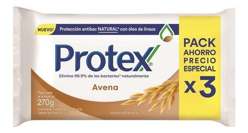 jabón en barra protex avena 90g pack 3 unid