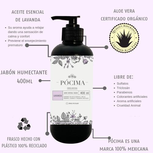 jabón líquido pócima con aceite esencial lavanda.  400ml