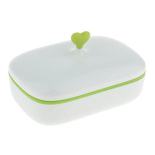 jabonera caja de plástico con bandeja de drenaje y tapa ve