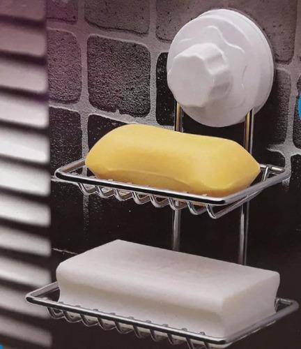 jabonera doble organizador baño cocina c/sopapa acero