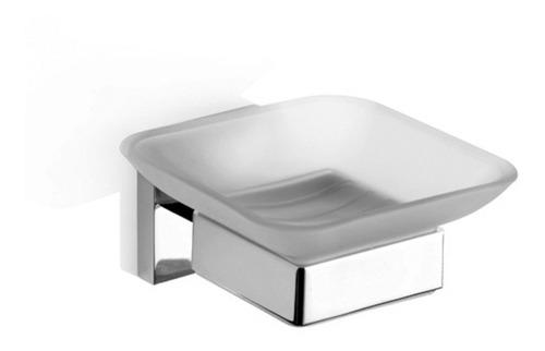 jabonera unique vidrio metal accesorio baño 5 a garantía