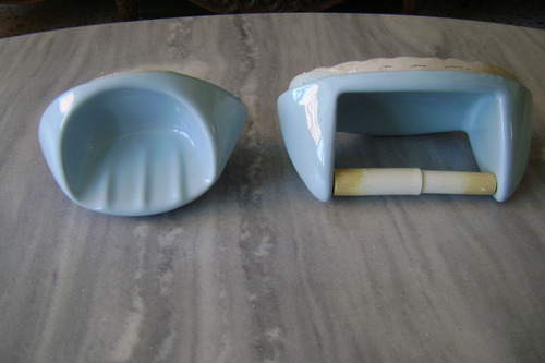 Jabonera y porta papel higienico de ceramica bs for Porta jabonera para bano