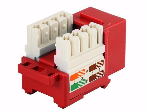 jack rj45 cat5e conector hembra red utp  rojo xcase