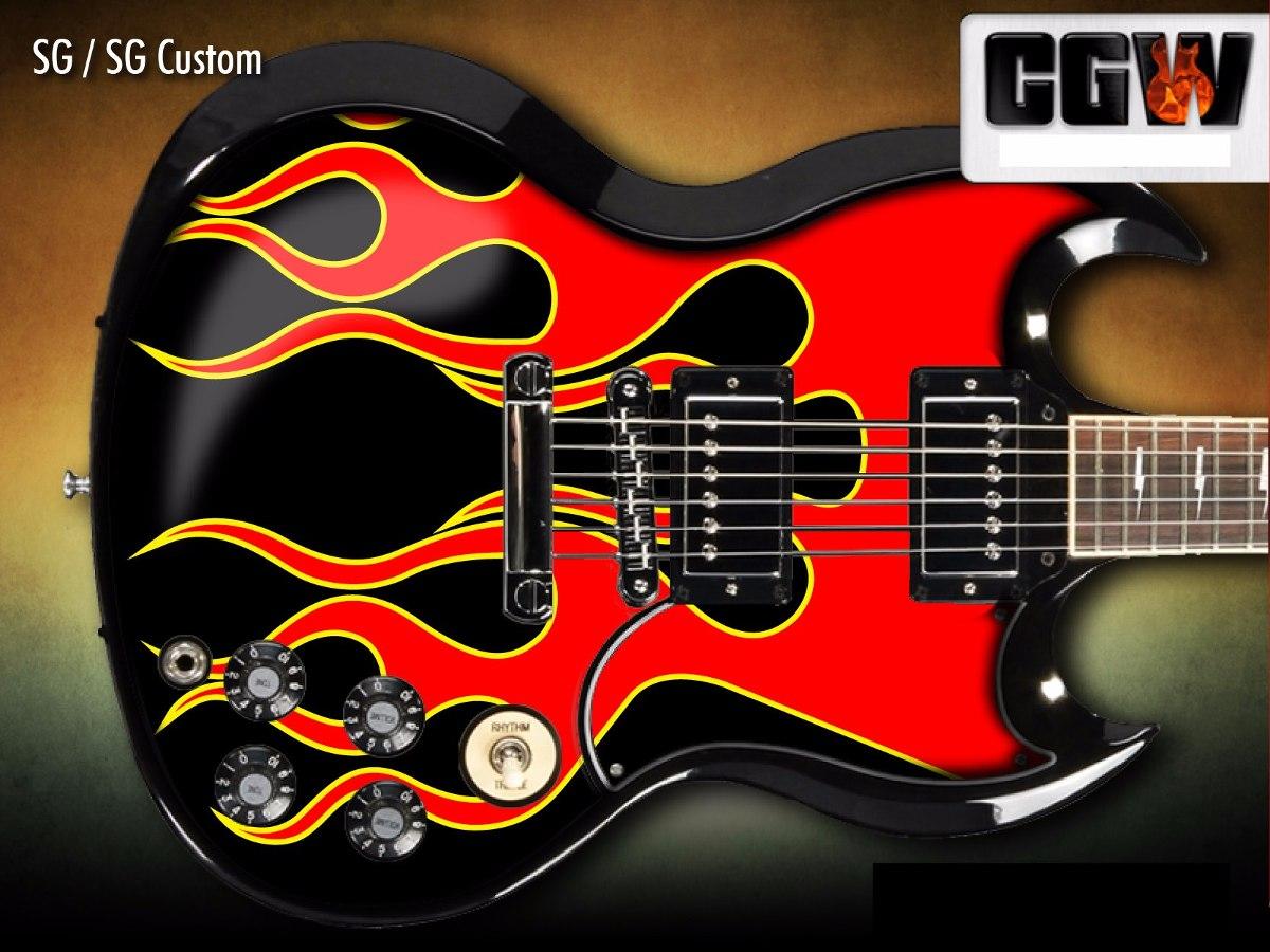 Aparador Tabaco ~ Jackson Flames Chamas Fogo Skin Adesivo Guitarra Violao Baix R$ 120,00 em Mercado L