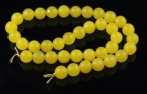 jade amarelo bola esfera facetada 10mm teostone colar 1744