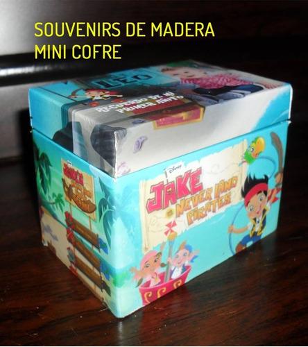 jake el pirata souvenirs cofre de madera personalizado x 10