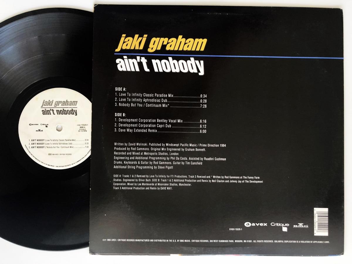 Jaki Graham - Ain't Nobody - Vinilo Usa Ex/ex Garage House - $ 960,00