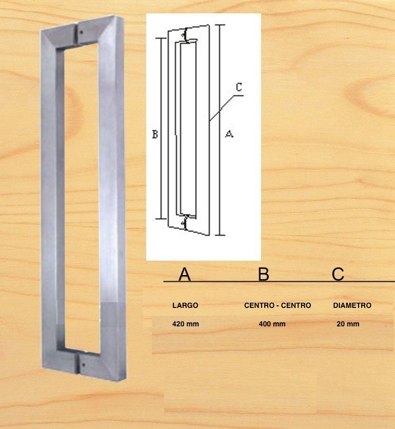 Jaladera cuadrada para puerta vidrio madera cristal mazcomer ...