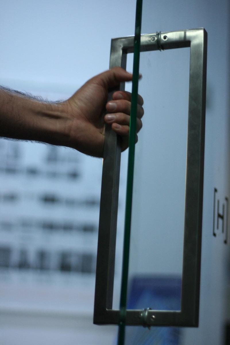 Jaladera cuadrada para puerta vidrio madera cristal for Agarraderas para puertas de vidrio