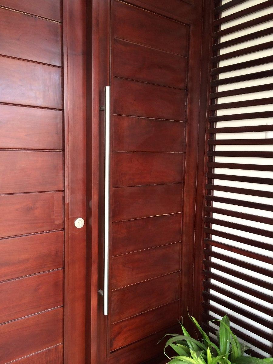 Jaladeras en 120 cm para puerta principal madera cristal for Manijas para puertas de madera