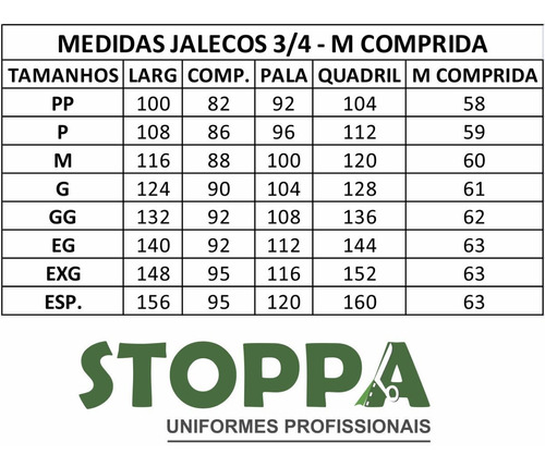 jaleco 3/4 masculino oxford  branco plus size ml - especial