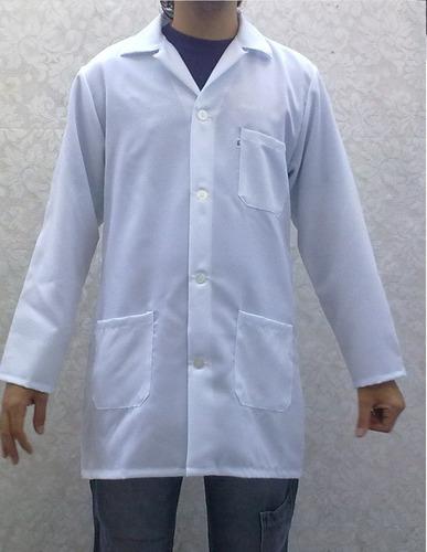 jaleco branco com bolso manga longa (em oxford)