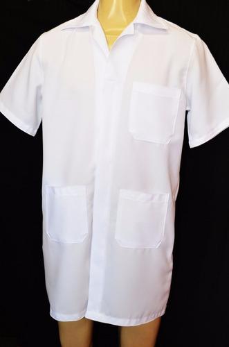 jaleco de oxford branco manga curta com gola e 3 bolsos