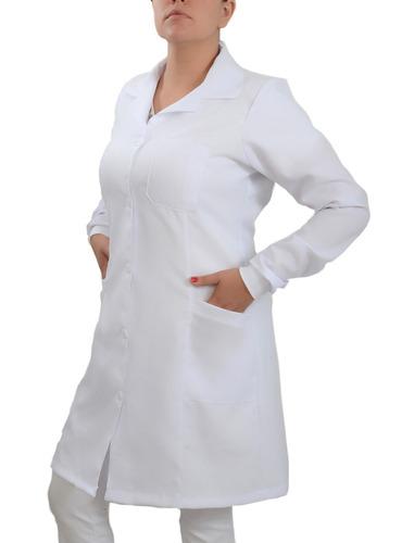 jaleco feminino acinturado com punhos, bordado