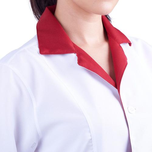 jaleco feminino acinturado oxford com nome bordado gratis