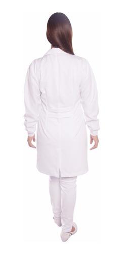 jaleco feminino acinturado, oxford,com punho
