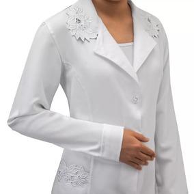 35d03ef1c Jaleco Feminino Branco Bordado Tecido Microfibra 958