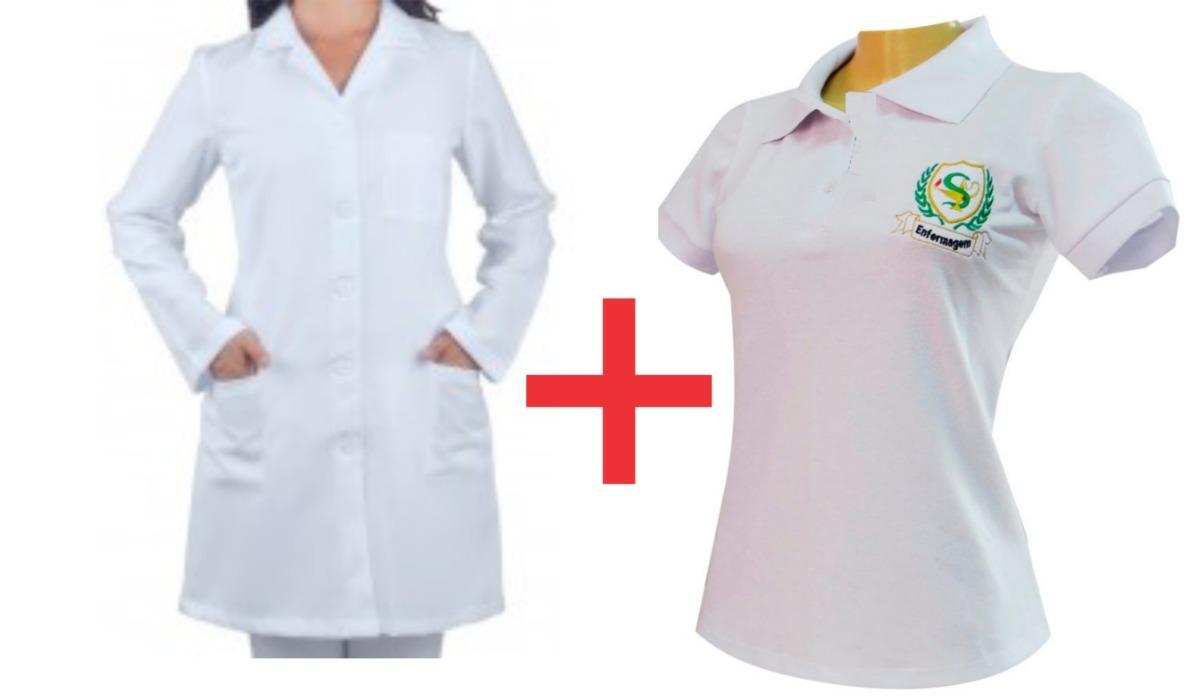 8672518ec5 Jaleco Feminino + Camiseta Polo Bordado Nutrição - R  83