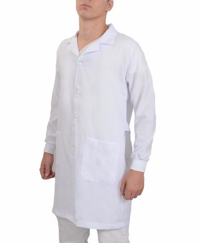 jaleco gabardine masculino com punhos, bolso bordado, médico
