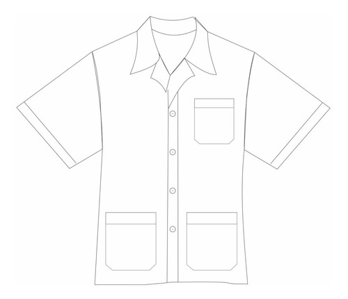 jaleco manga curta unissex curto 3 bolsos - plus size