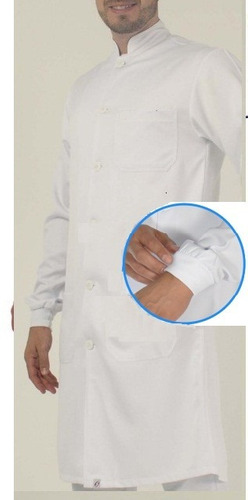 jaleco masculino gola padre e punho bordado na manga grátis.