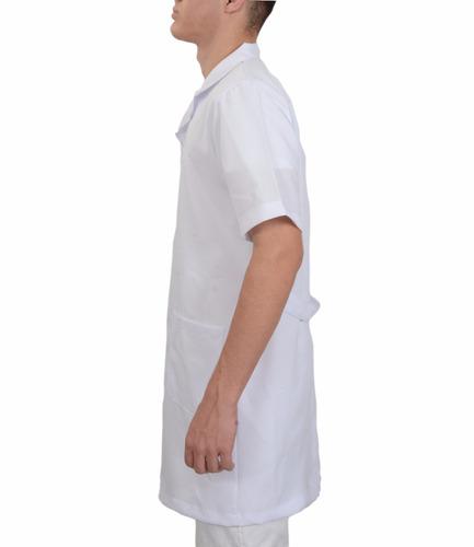 jaleco médico masculino manga curta 3 bolsos